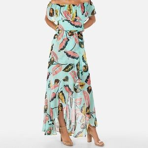 Express Tropical Print Off The Shoulder Dress